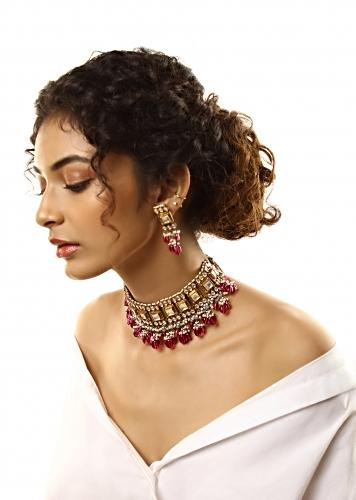 Gold Plated Choker Necklace And Earrings Set With Square And Drop Shaped Kundan And Maroon Semi Precious Stone Beads By Kohar