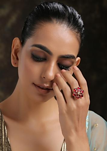 Gold Plated Cocktail Ring With Ruby Red Stones And Kundan Arranged In A Flower Shape By Paisley Pop