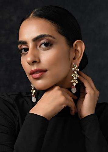 Gold Plated Earrings Handcrafted With Kundan And Dangling Pink Stone  By Paisley Pop