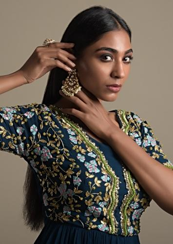 Gold Plated Earrings In Crescent Shape With Kundan And Dangling Pearls Online - Kalki Fashion