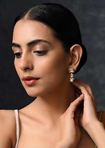 Gold Plated Earrings With Intricate Kundan Work In Tiny Geometric Motifs With Moti Tassels By Paisley Pop