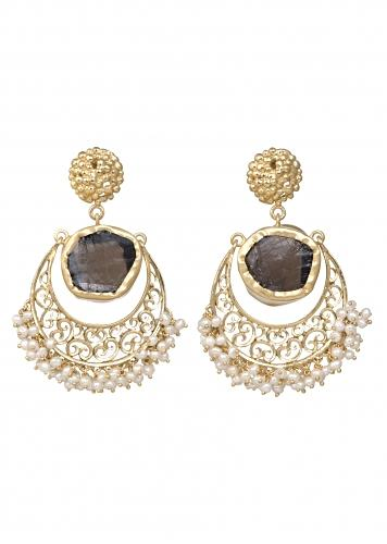 Gold Plated Earrings With Smoky Topaz And Tiny Bits Of Pearls By Zariin