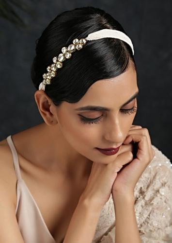 Gold Plated Head Band With Timeless Victorian Polki On One Side And Moti Strings On The Other Half By Paisley Pop
