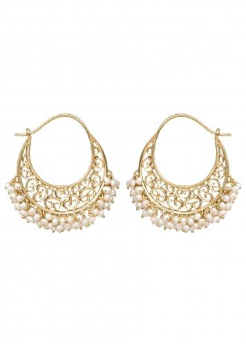 Gold Plated Hoop Earrings With Filigree Design And Pearls On The Edge By Zariin