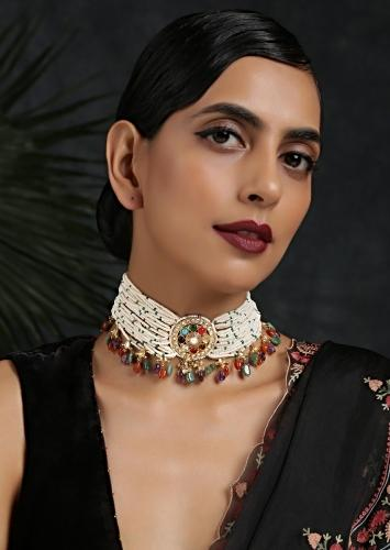 Gold Plated Kundan Choker Necklace With Moti Strands And Dangling Multicolored Beads By Paisley Pop