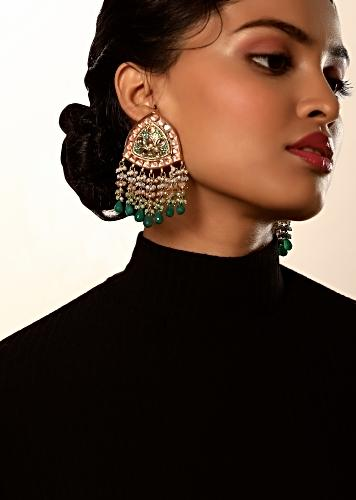 Gold Plated Kundan Earrings With Green Enamel Work, Pale Peach Semi Precious Stones And Dangling Multi Colored Bead Fringes By Kohar