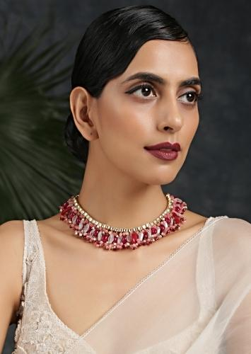 Gold Plated Kundan Necklace Embellished With Pink Stones By Paisley Pop