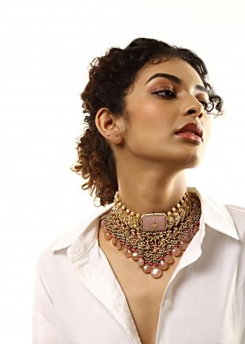 Gold Plated Kundan Necklace With Rose Semi Precious Stone And Dangling Bead Fringes Edged With Pink Drops By Kohar