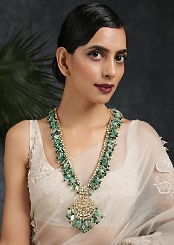 Gold Plated Long Necklace With Kundan And Multisized Beads In Varied Shades Of Green By Paisley Pop
