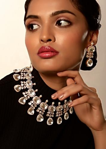 Gold Plated Necklace And Earrings Set With Kundan Detailing Edged In Swarovski Crystals And Moti Work By Kohar