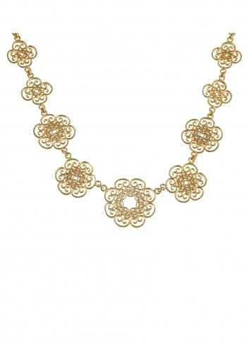 Gold Plated Necklace In Floral Motifs With Delicate Filigree Design And Pearls By Zariin