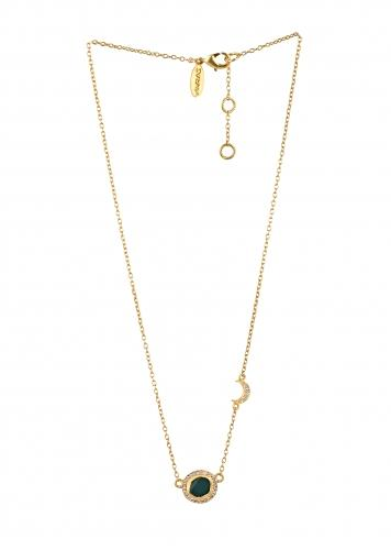 Gold Plated Necklace With Green Chalcedony Pendant And Studded With Cubic Zircons By Zariin