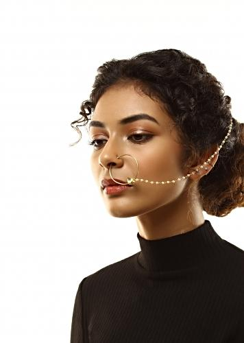 Gold Plated Nose Ring With Kundan Drop And Attached Moti Chain By Kohar