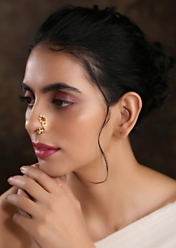 Gold Plated Nosepin With Delicate Floral Pearls And Red Beads By Paisley Pop