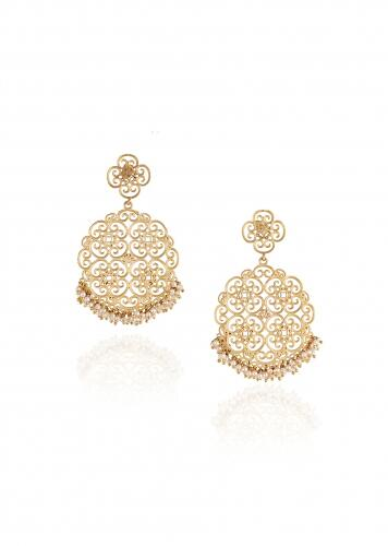 Gold Plated Oversized Disc Earrings With Delicate Filigree Detailing And Pearls By Zariin