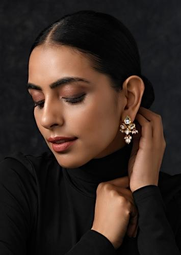 Gold Plated Royal Indian Earrings Handcrafted With Intricate Kundan Work And Nano Moti Tassels By Paisley Pop
