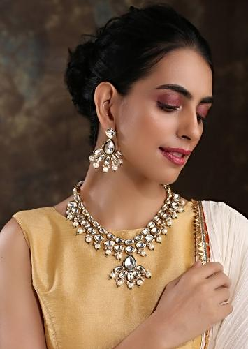 Gold Plated Royal Necklace And Earrings Set Handcrafted With Kundan And Edged With Moti By Paisley Pop
