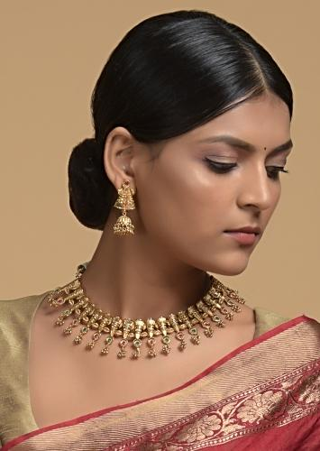 Gold Plated Traditional Necklace And Jhumka Set With Green And Pink Stones And Bead Tassels Online - Kalki Fashion
