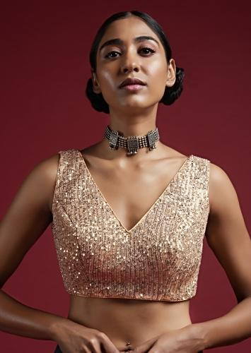 Gold Sleeveless Blouse In Sequins Fabric With V Neckline Online - Kalki Fashion