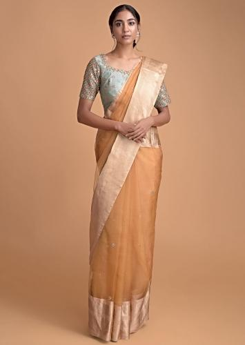 Gold Yellow Saree In Organza Silk With Abla And Gotta Work And Fern Green Blouse Online - Kalki Fashion