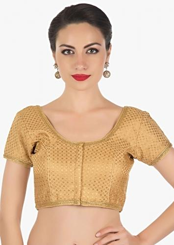 Gold blouse featuring in brocade highlighted in lace only on Kalki