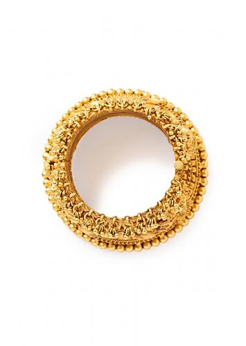 Gold Plated Bangle Designed With Carved Motifs And Studded With Hydro Rubies Online - Joules By Radhika