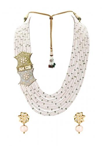 Gold Plated Necklace Set With Shell Pearls, Imitation Polki And Meenakari Online - Joules By Radhika
