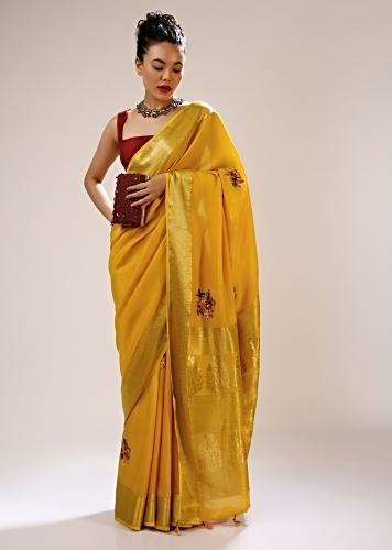 Golden Glow Saree In Silk Blend With Checks Weave, Multi Colored Bud Embroidered Floral Motifs And Brocade Border Online - Kalki Fashion