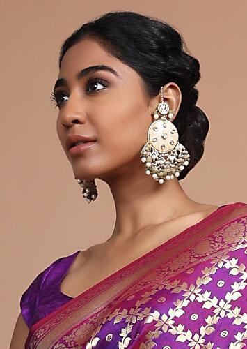 Golden Chandelier Earrings With Floral Minakari Inset With Kundan And Dangling Bead Fringes By Kohar