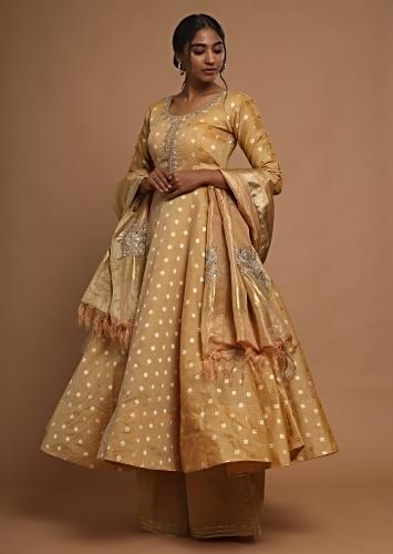 Golden Ochre Anarkali Suit With Resham Buttis And Palazzo Pants Online - Kalki Fashion