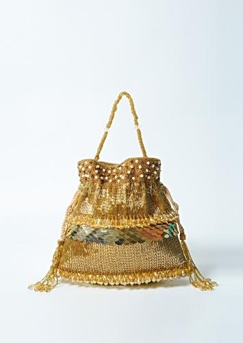 Golden Potli In Velvet With Intricate Hand Embroidery Using Stones And Beads Online - Kalki Fashion