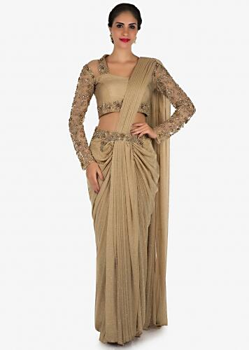 9dec9fb63a7 Golden ready pleated saree in lycra heavily embellished in zardosi and moti  embroidery work only on