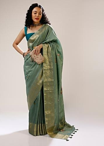 Granite Green Saree In Silk Blend With Multi Colored Bud Hand Embroidered Floral Buttis And Floral Brocade Border Online - Kalki Fashion