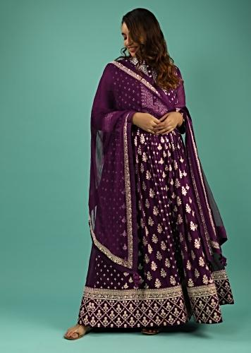 Grape Purple Anarkali Suit In Georgette With Sequins And Zari Embroidered Floral Buttis And Chiffon Dupatta