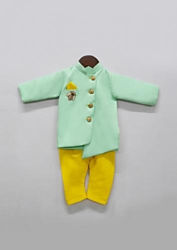 Green Ajkan And Yellow Pants Set With Asymmetric Hem And Embroidered Patchwork In Bee Motif By Fayon Kids