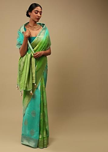 Green And Blue Shaded Saree In Organza With Woven Round Buttis And Unstitched Blouse Online - Kalki Fashion