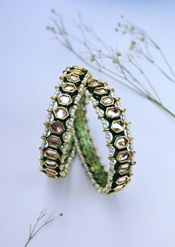 Green And Gold Bangles Adorned In Kundan With Hints Of Green Enamel And Two Pearl Layers On The Edges By Paisley Pop