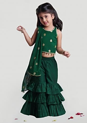 Green Frill Sharara And Crop Top Suit With Embroidered Buttis  By Mini Chic