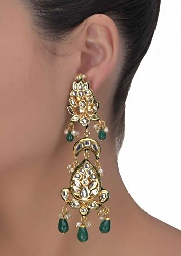 d15103102 Green mina work and beads danglers with kundan and pearls in floral  patternonly on Kalki