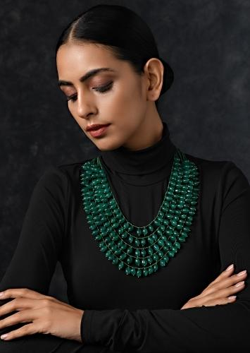 Green Multilayered Necklace Adorned With Jade Stone Beads By Paisley Pop