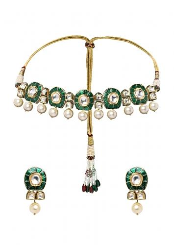 Green Choker Necklace Set With Meenakari, Kundan And Dangling Shell Pearls Online - Joules By Radhika