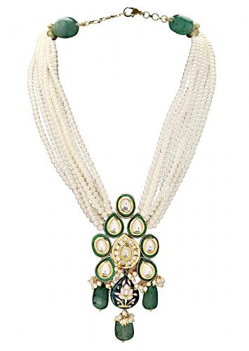 Green Necklace With Pearl Strings And Polki Pendant With Green Jade And Meenakari Online - Joules By Radhika