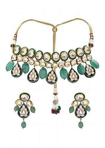 Green Polki Necklace Set With Jade Beads And Meenakari Work Online - Joules By Radhika