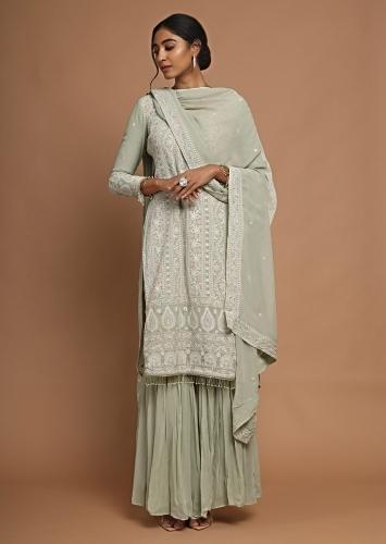 Greenish Grey Sharara Suit With Lucknowi Thread Embroidery And Tassel Sleeves Online - Kalki Fashion