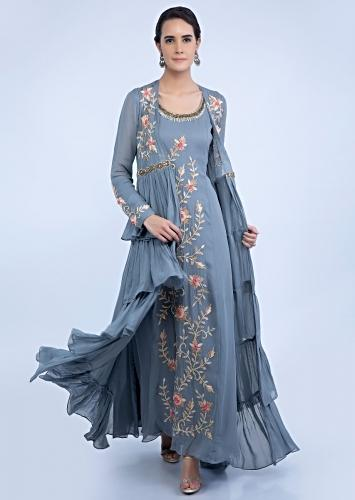 c9f634947c2 Grey front panel embroidered tunic dress with frilled layer long jacket  only on Kalki