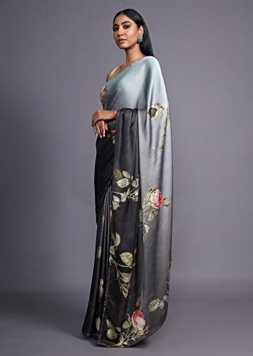 Grey Ombre Saree In Satin Blend Adorned With Floral Print And Kundan Accents Online - Kalki Fashion
