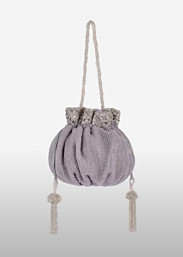 Grey Potli Bag In Crushed Sequins Fabric With Cut Dana And Zardosi Embroidery Detailing Online - Kalki Fashion