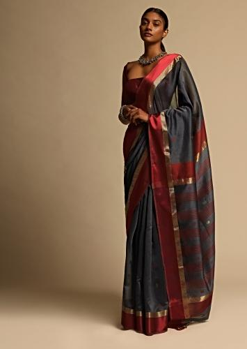 Grey Saree In  Cotton Silk With Red And Gold Border And Woven Buttis Along With Unstitched Blouse Online - Kalki Fashion