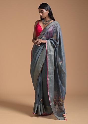 Grey Saree In Tussar With Bud Embroidered Floral Buttis Online - Kalki Fashion