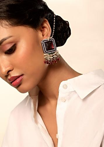 Grey Toned Earrings In Square Motif With Carved Burgundy Stone Edged In Swarovski Along With Dangling Multi Colored Beads By Kohar
